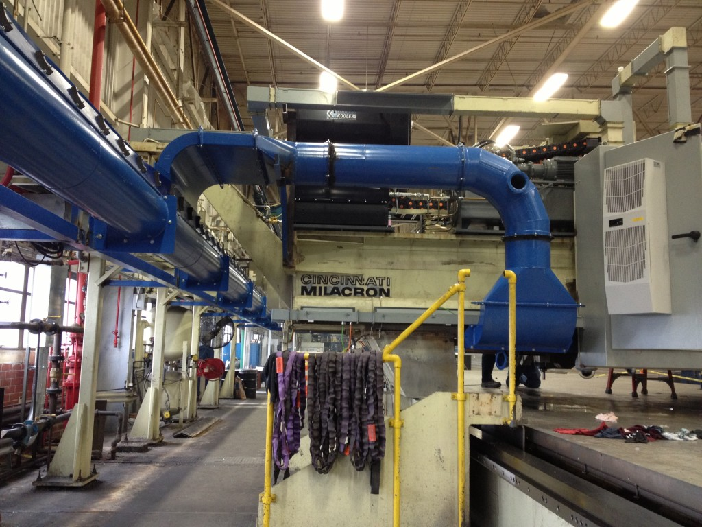 Vacuum collection from gantry profiling mill.